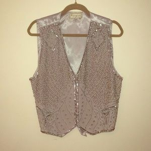 SpencerJeremy Sequin and Beaded Grey Silk Vest